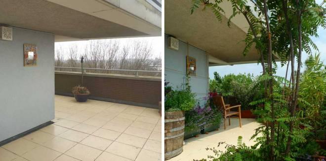 Balkon voor en na.