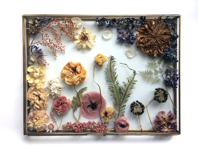 dried flowers in copper and glass box